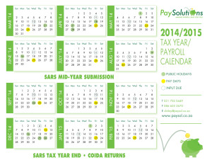 Payrol, payroll services, tax year end, year end, public holidays, south african public holidays, 2014 calendar