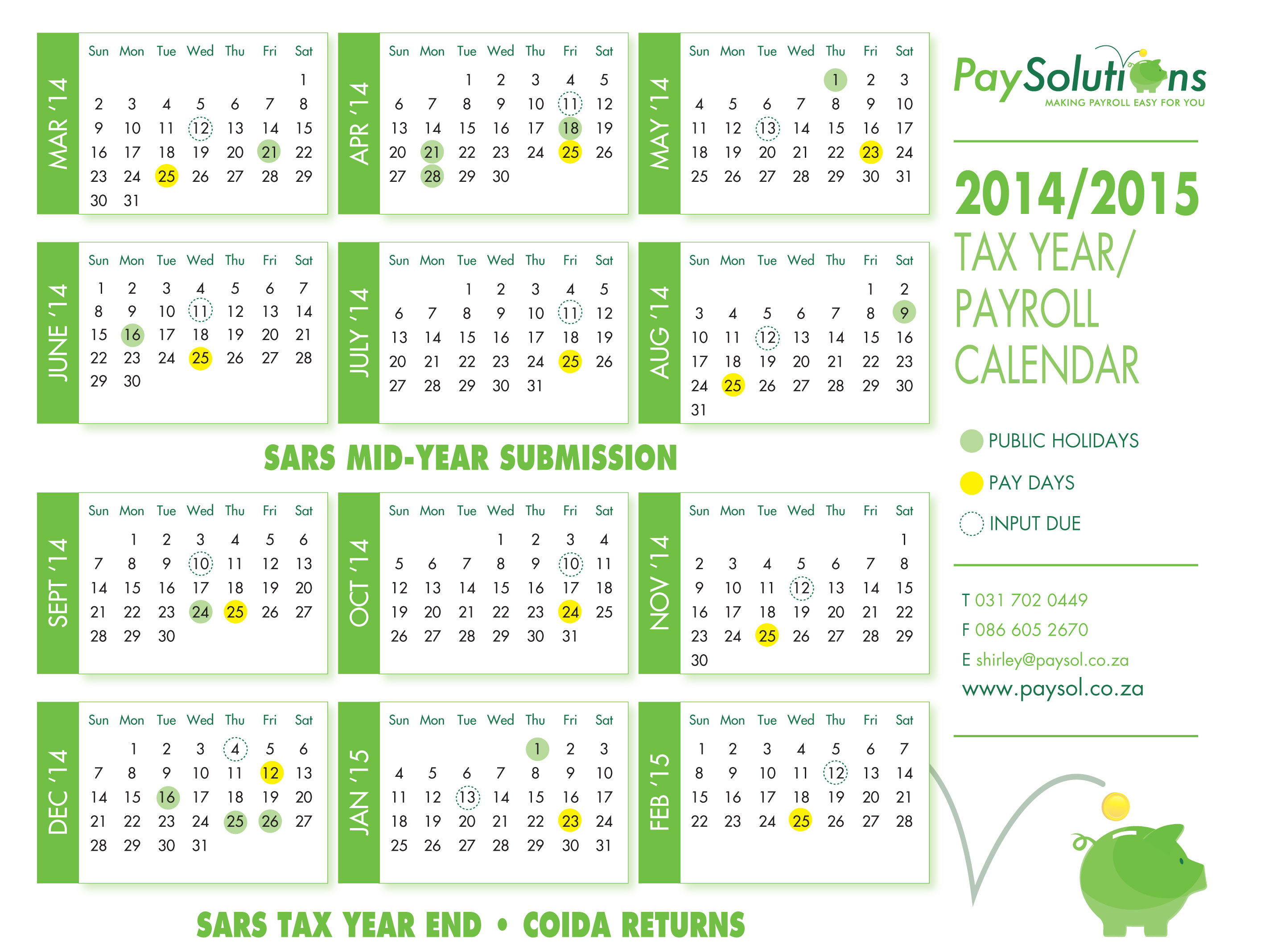 Calendar for 2014 Payroll Dates - Pay Solutions